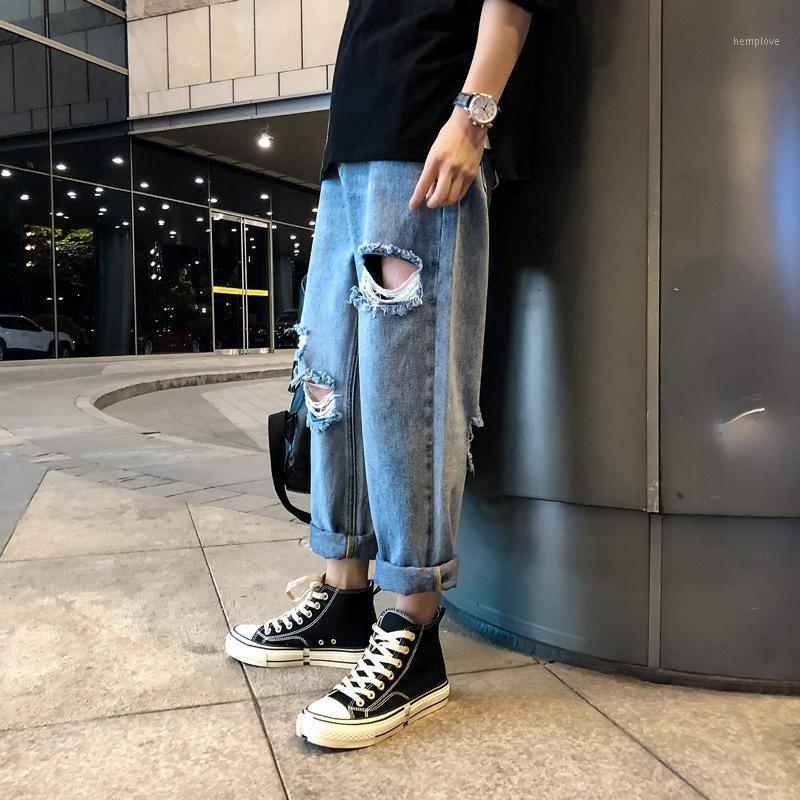 Commercio all'ingrosso 2020 mendicante jeans strappato pantaloni dritti da uomo tutti-match pantaloni rondati lavati in fiamme1