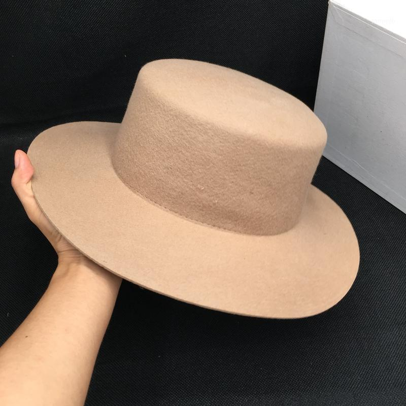 Chapéus de borda mesquinho sobre celebridade da web com parágrafo lã laranja-borda plana-cobertura de feltro moda blogueiros temperamento corajoso hat1