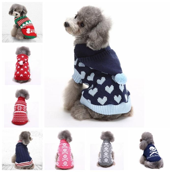 Одежда для собак оленя Рождество Хэллоуин вечеринка одежда вязаный щенок костюмы питомца снежинки верхняя одежда пальто свитер YHM188