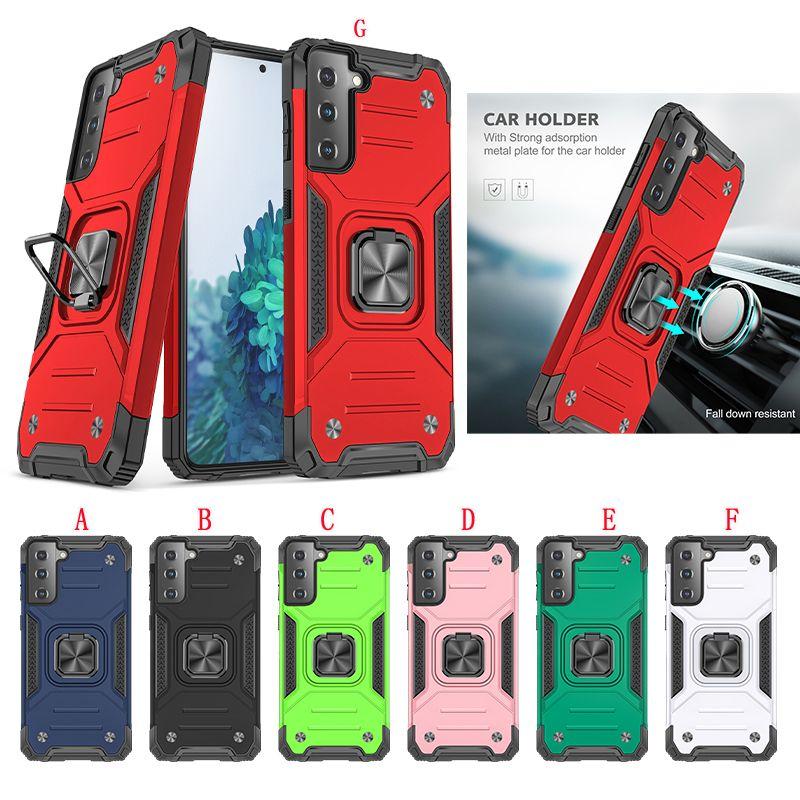 Montagem de carro Magnetic Armor Hard Capazes para Samsung A42 5G S21 mais Ultra S20 Fe A01 Core PC Anel Híbrido Suporte Suporte Provavelmente Capa de Telefone