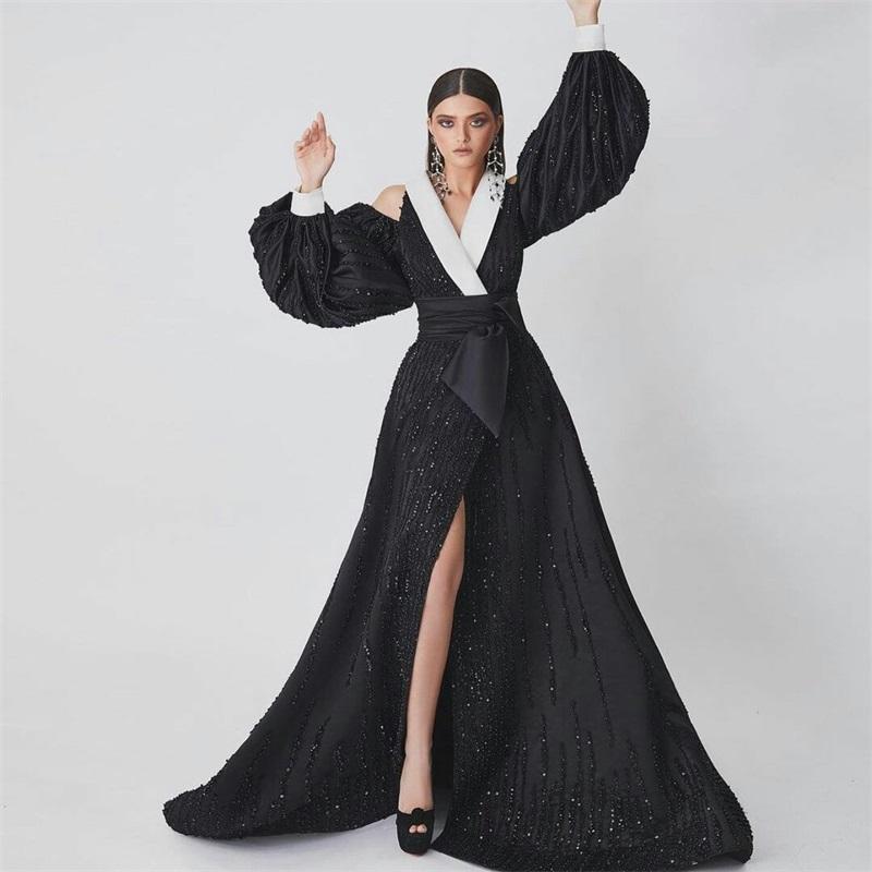 Hot Sale Modern Design Aftonklänningar Långärmad Vit och Svart Sequins Pärlor Bling Prom Klänningar Hollow Sexig Skräddarsydd Robe de Soirée