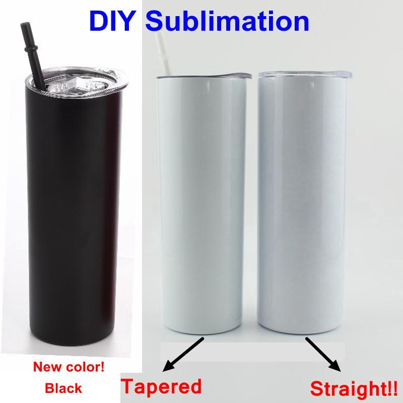 DIY Sublimation Tumbler Straight Blank 20oz Stainless Steel Skinny Insulated Tumbler DIY Straight Cups Beer Coffee Mugs Stock See shipping