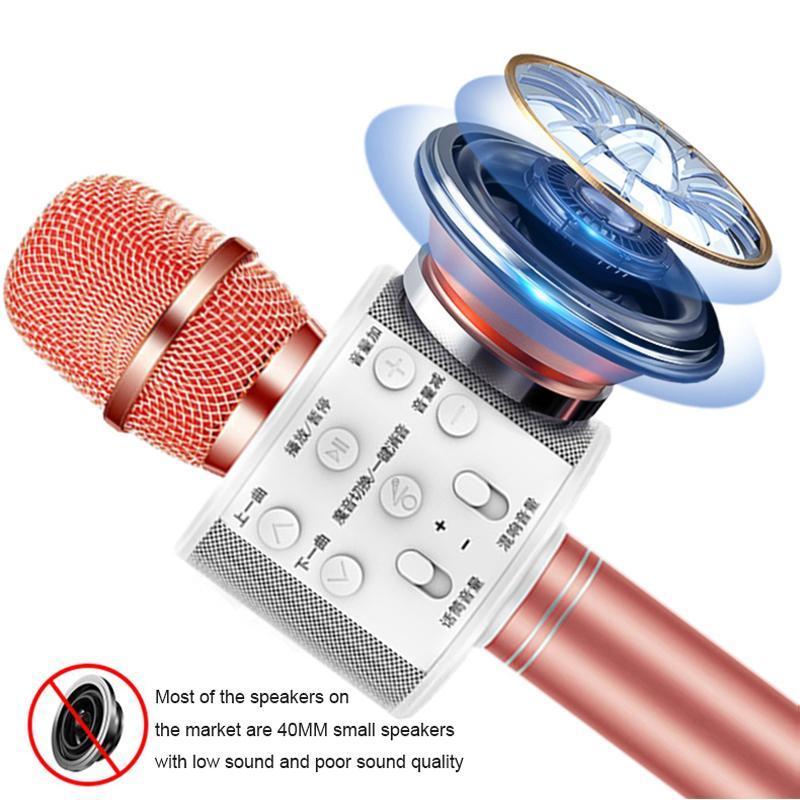 Karaoke Mikrofon Bluetooth Telefon için Kablosuz Mikrofon Karaoke Hoparlör El Mikrofon Oynatıcı Şarkı Kaydedici Mic