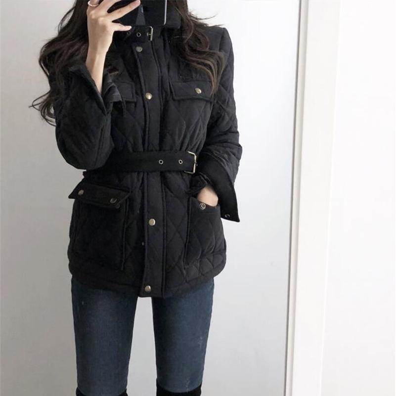 Высококачественная зимняя куртка женская мода мода на молнии ремень инструмент Parka Slim толстые теплые хлопчатобумажные пальмы женские повседневные уличные одежды updooat 201119