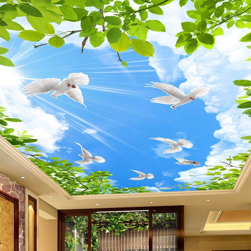 HD Blue Sky Голубь Обои Потолочные Росписи Обои 3D Стерео Космические Настенные Документы Персонализированные Гостиные Отель Papel De Parede