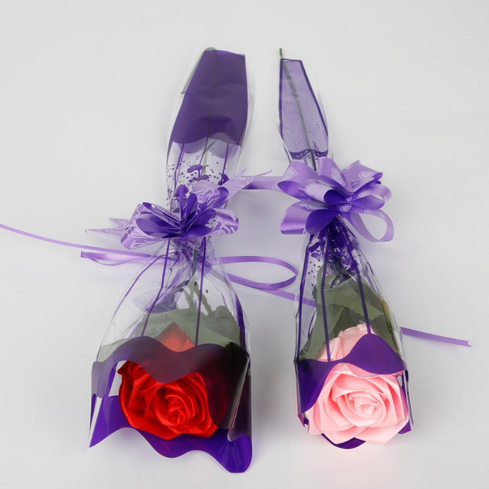 200 adet / takım 11 * 37 CM Baskı Çiçek Plastik Hediye Paketi Şeffaf OPP Poly Çanta Gül Çiçek Doğum Günü Düğün Paketleme Çantası Için