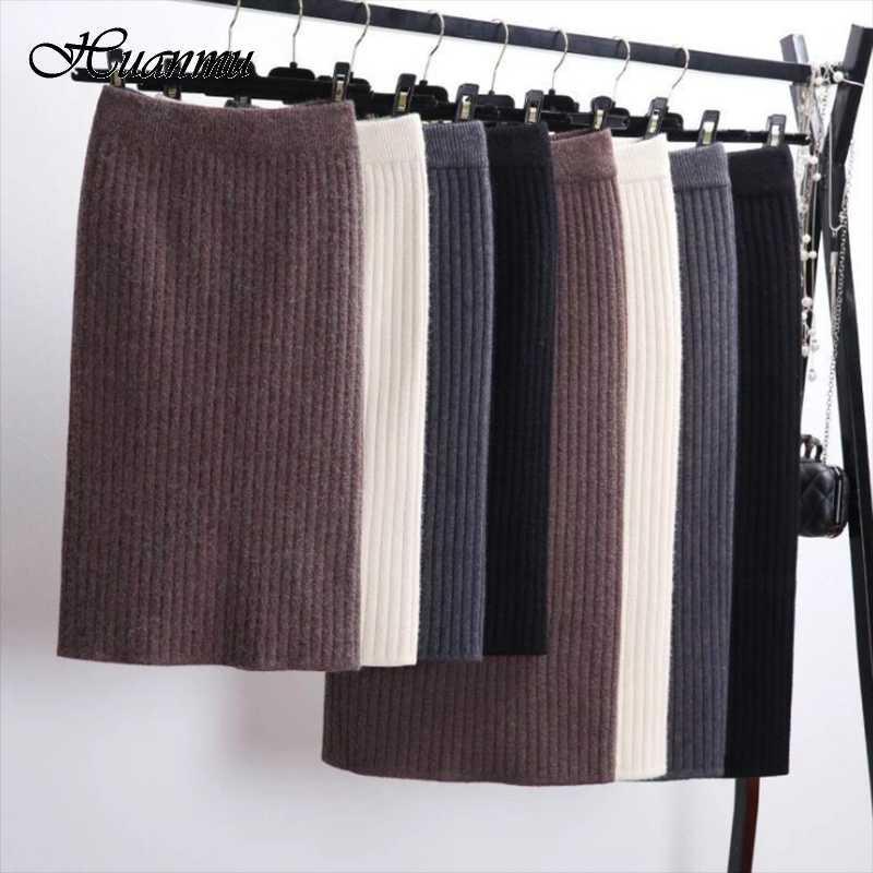 Elastic Band Women Cashmere Skirts Autumn Winter Warm Knitted Straight Skirt Ribbed Mid-Long Skirt High Waist Split Bottoms Slim