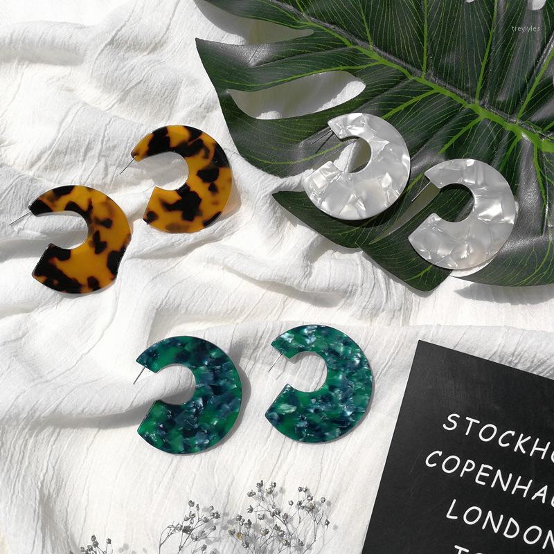 Шпилька милая черепаха смола зеленый коричневый леопард принт белая серьга1