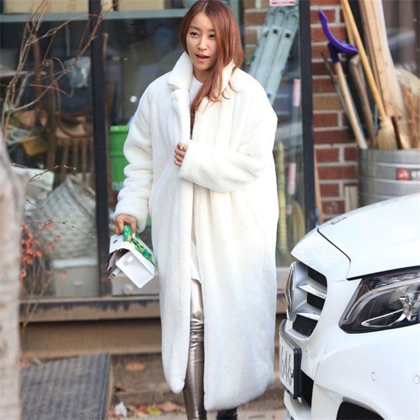 Moda Trun-down Yaka Faux Kürk Tavşan Uzun Ceket Kadın Kış Kürklü Sıcak Kürk Giyim Rahat Kalınlaşmış Tilki Kürk Beyaz Ceket 201214