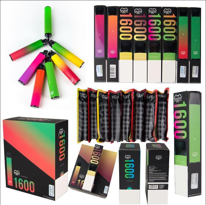Puff XXL Disposable Vapes Electronic Cigarette 1600 Puffs Vape Device With Security Code 6.5ml Pod 20+ Colors Available PopularE Cigs