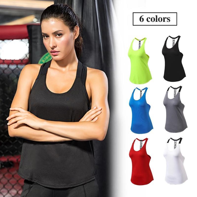 Qualité 15% Spandex Fitness Sports Sports Yoga Chemise rapide Sèche Sèche Sans manches Vest d'entraînement Crop Top T-shirt