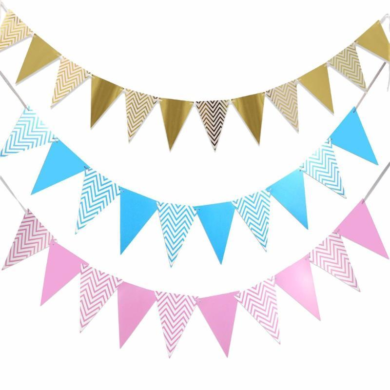Banner أعلام استحمام الطفل صبي فتاة عيد ميلاد حزب الديكورات الذهب والفضة الوردي الأزرق شيفرون الرايات