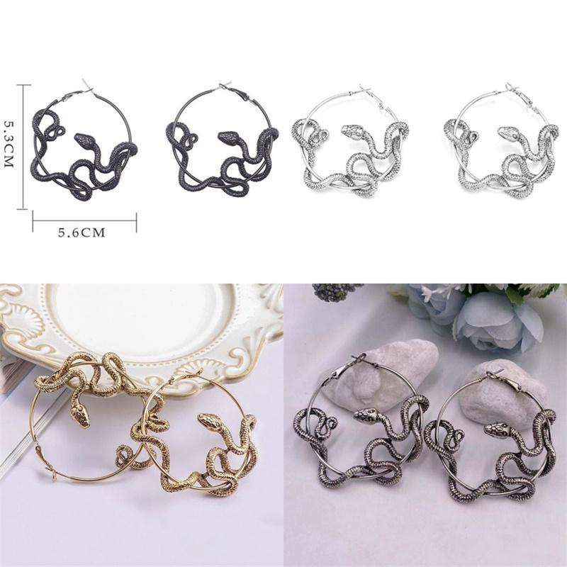 Antike Schlangenreifen Ohrringe vergoldet Charms Ohr Anhänger Frauen Mode Dame Earrop Zubehör Schmuck Party Geschenke 6 73fs N2