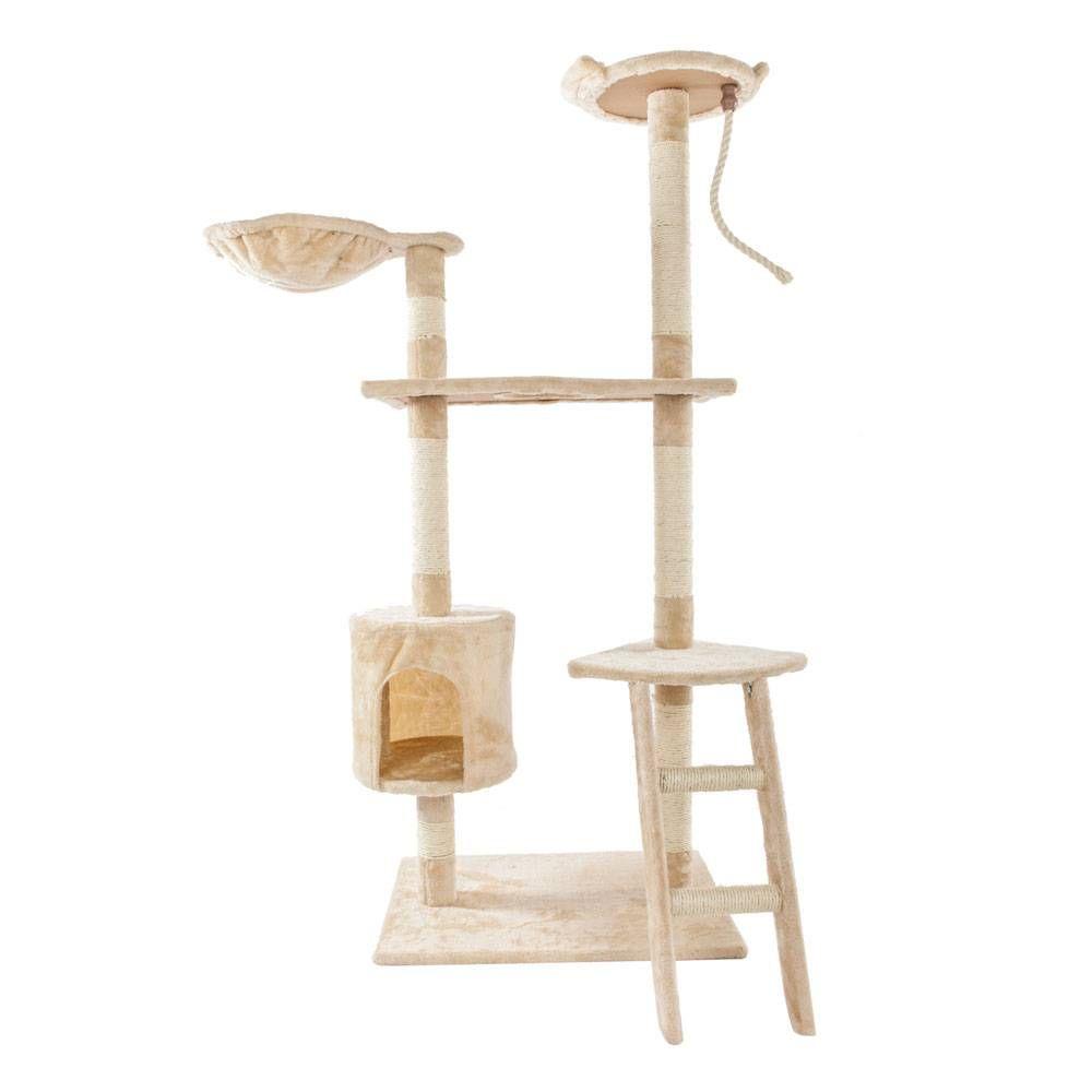 "60 ""Massive süße Sisal Seil Plüsch Cat Klettern Tree Turm Beige Möbel Kratzer"