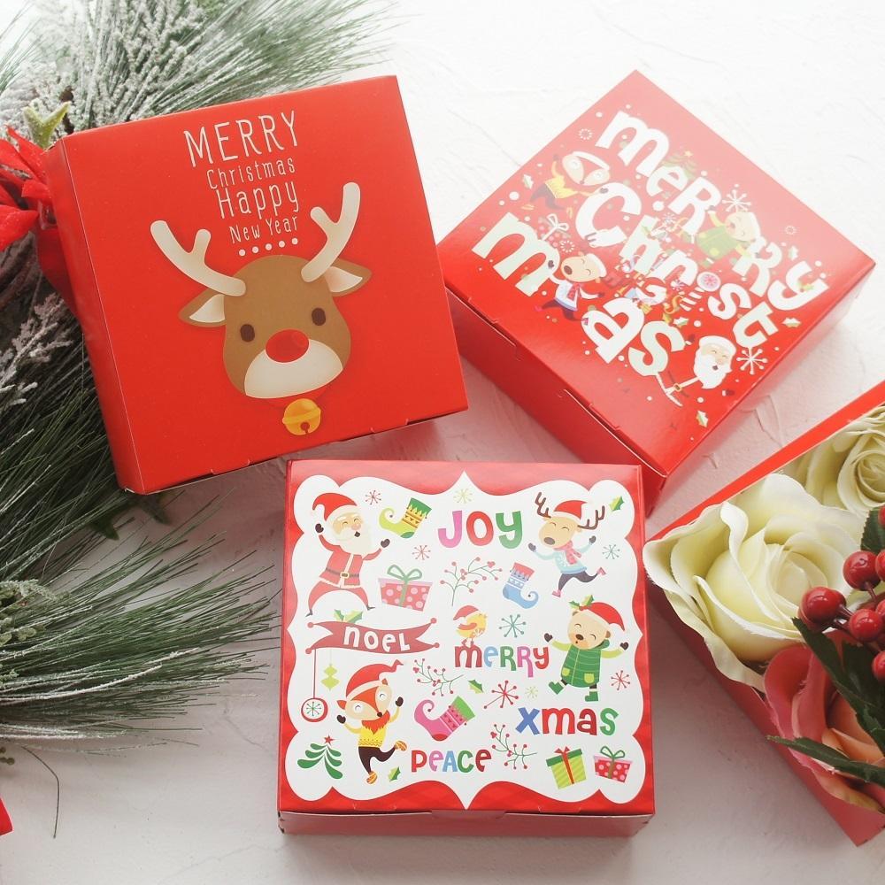 14 * 14 * 5 cm 10pcs rosso Buon Natale Santa Claus Elk Dancing Book Bookie Cookie Macaron Christmas Party Regali Imballaggio Y1130
