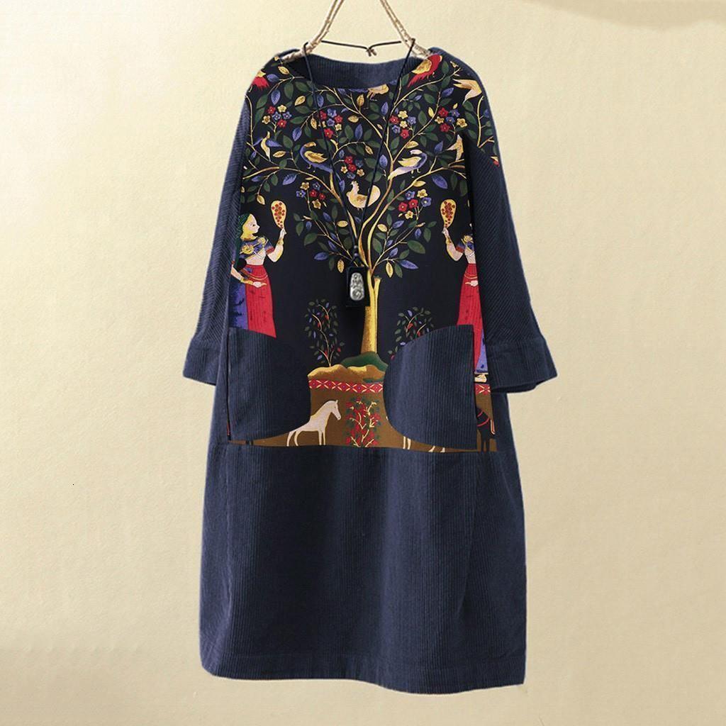 Vintage Women Dress Corduroy Ethnic Print Patchwork Long Sleeve Pockets O Neck Loose Dress Casual Women Party Dresses 2021
