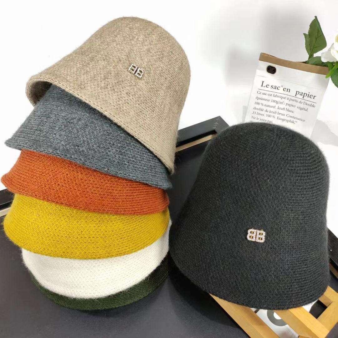 Sonbahar ve kış yün küçük saçak balıkçı şapkası kadın bb su elmas moda kova kap Kore versiyonu