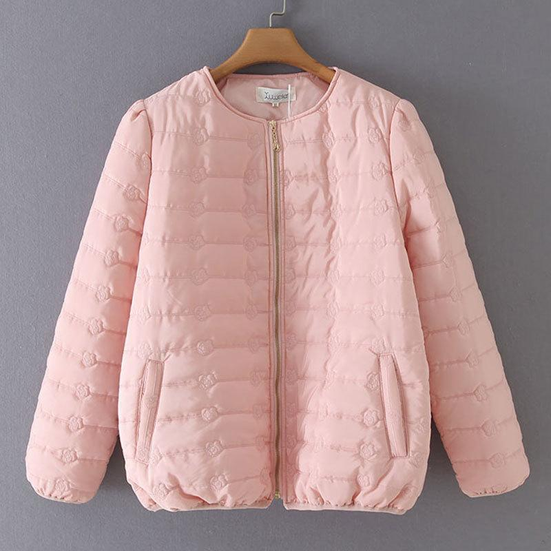 Winter Coats For Women Puff Sleeve Embroidery Zipper Short Parka Fashion Oversize Female Down Cotton Jacket 201211