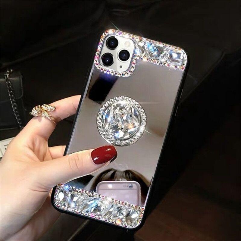 3D Acrylic Sunjolly Mirror Diamond Funda para teléfono 11 Pro Máx XS MAX XR 8/7 PLUS 6 / 6S PLUS SE2020 CASOS DE TELÉFONOS CUBIERTE CUEVE FUNDAS