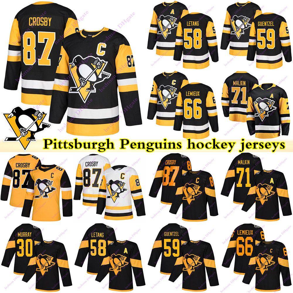 Pittsburgh Penguins Jerseys 87 Sidney Crosby 71 Evgeni Malkin 66 Lemieux 58 Letang 59 Guentzel 30 Murray Hockey Jersey
