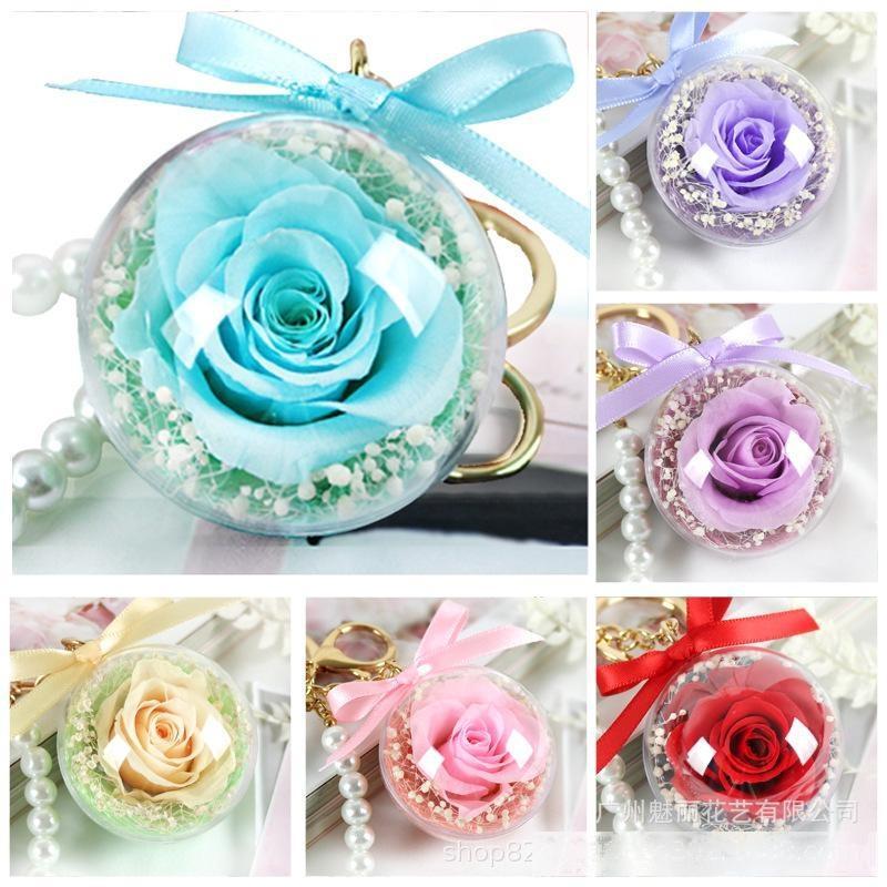 Rose Keychain DIY Flor Eterna Pingente Pingente Claro Acrílico Esfera Presente Transparente Esfera Rosa Valentim Decoração Do Casamento