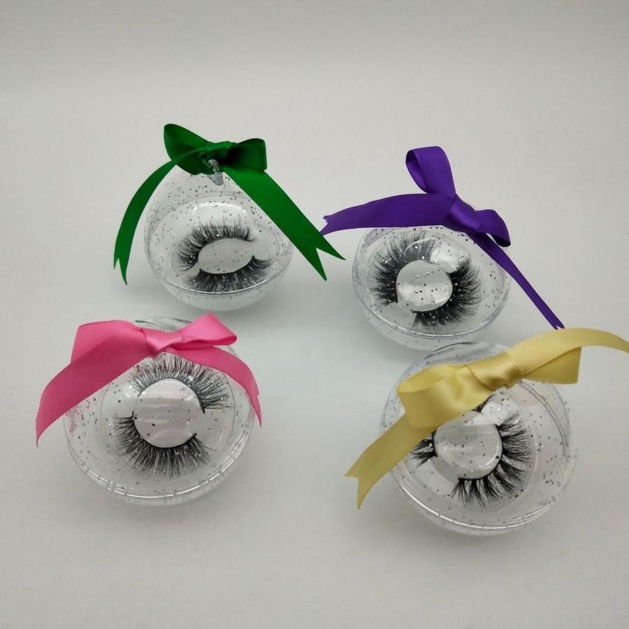 3D Mink Eyelash Package Boxes Diamond False Eyelashes Packaging Empty Eyelash Box Case Creative Ball Shaped Lashes Box Packaging