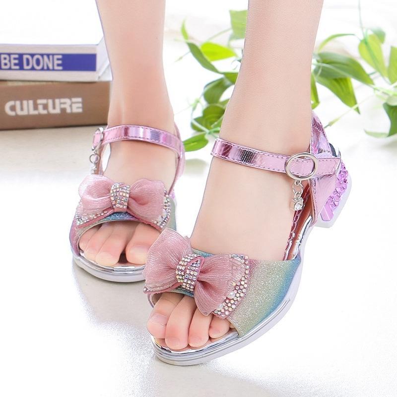 Niñas Sandalias Rhinestone Butterfly Latina Danza Latina Zapatos Niños Tacón alto Princesa Zapatos Glitter Cuero Partido Vestido de fiesta T200427