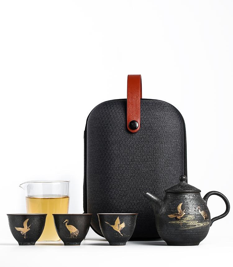Bule de cerâmica de louça preta com 3 xícaras Pássaro portátil de chá de viagem