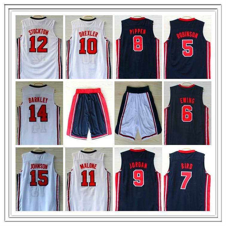1992 Dream Jersey Robinson Ewing Bird Pippen Drexler Malone Stockton Johnson Barkely Michael Basketball