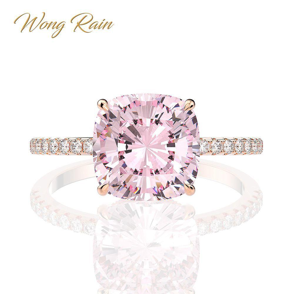 Wong Rain 100% 925 стерлингового серебра создан моисанит сапфировый драгоценный камень свадьба свадьба привлечение розовое золотое кольцо тонкие украшения оптом Y1124
