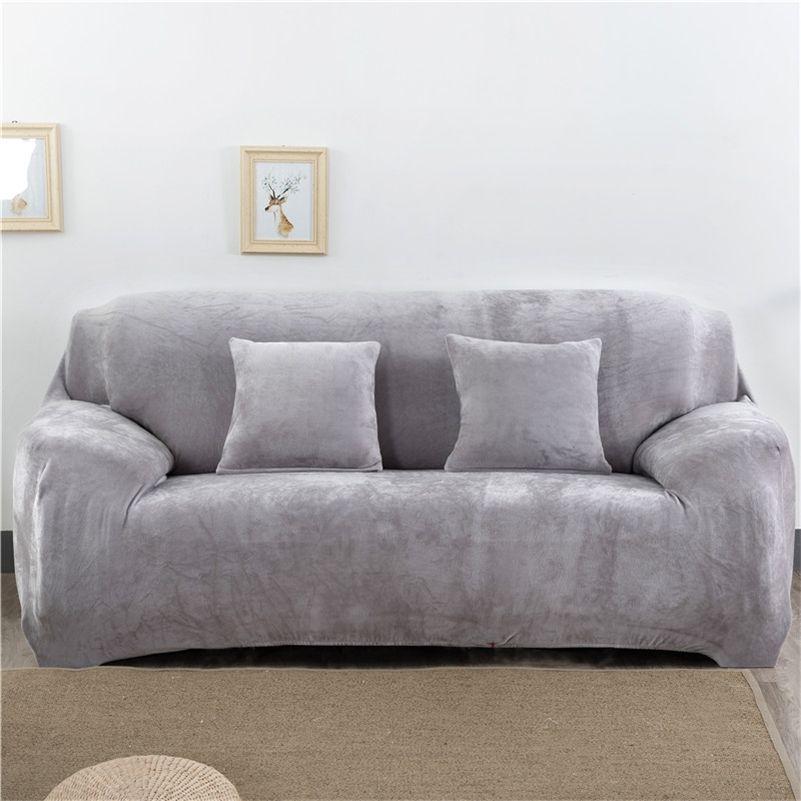 Engrossar coberturas de sofá elástico de pelúcia para sala de estar secional móveis de canto slipcover capa 1/2/3/4 lugar sólido cor 201221