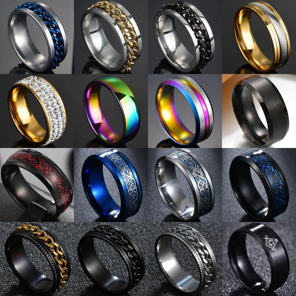 8 milímetros Titanium Aço numeral romano Anéis torção cadeia para homens Polished Black Rock Punk motociclista casamento Masonic Anel
