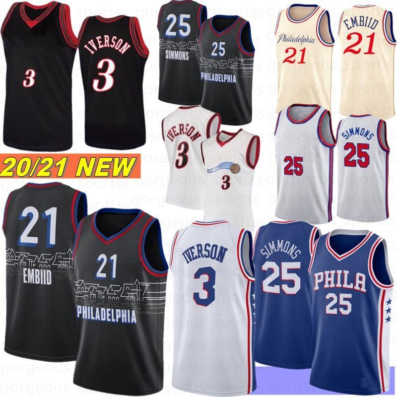 Joel 21 Embiid Ben 25 Simmons Homens Basketball Jerseys Allen 3 Iverson Retro Jerseys Philadelphias Jersey 2021 New Camisetas de Baloncesto