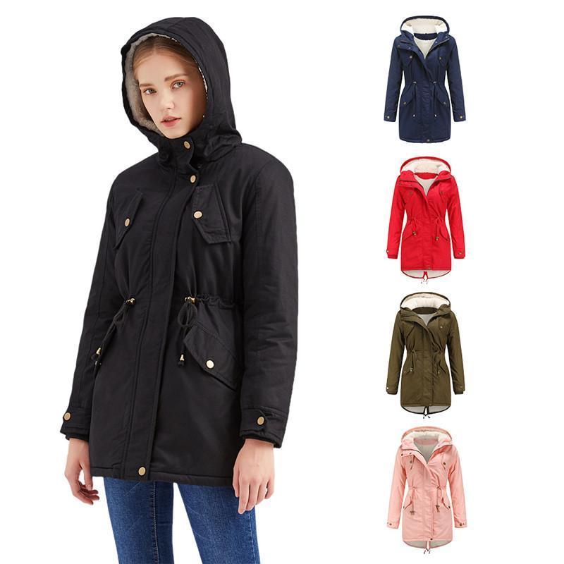 Winter Women's Plus Velvet Padded Coat Warm Windproof Jacket Plus Size Hooded Parka Female Clothes Drawstring Slim Outwear KW413