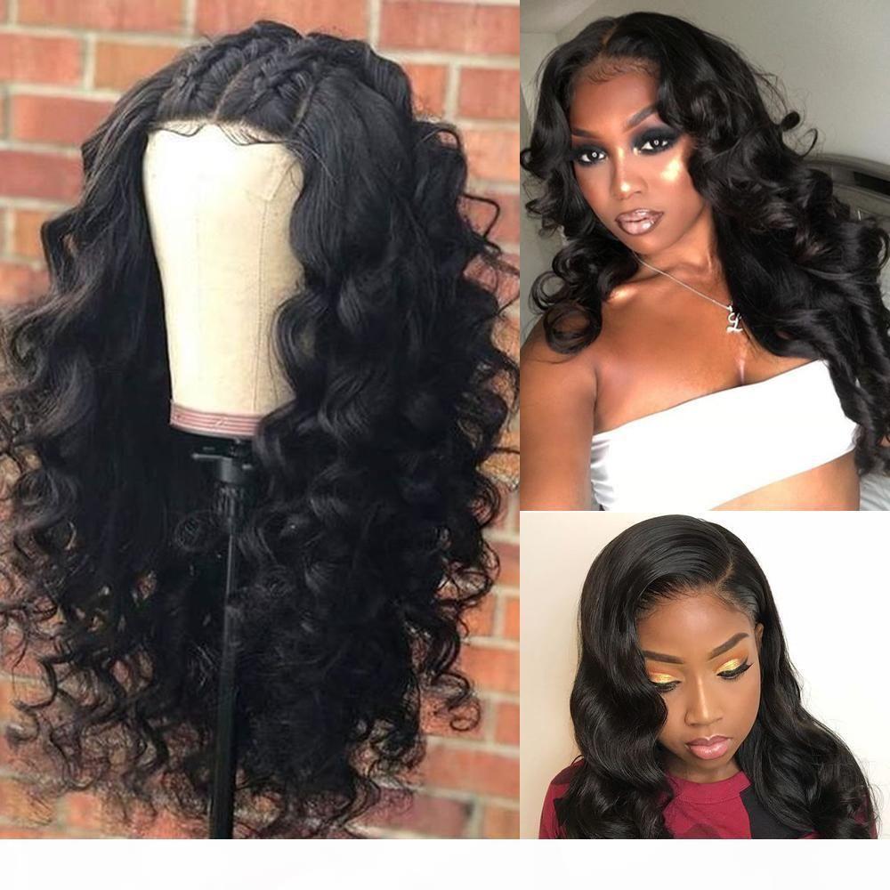 Vücut Dalga 13 * 4 Dantel Ön İnsan Saç Peruk Kadınlar Için Ön Klumped Saç Çizgisi Ile Bebek Saç 8-24 inç Perulu Saç Ağartılmış Knot