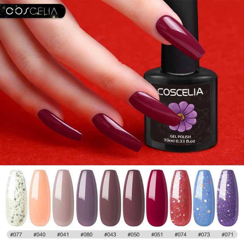 Coscelia 6/8 / 10pc gel ongles vernis de gel de couleur GEL GEL UV Verchish Semi permanent Top manteau 10ml SOI
