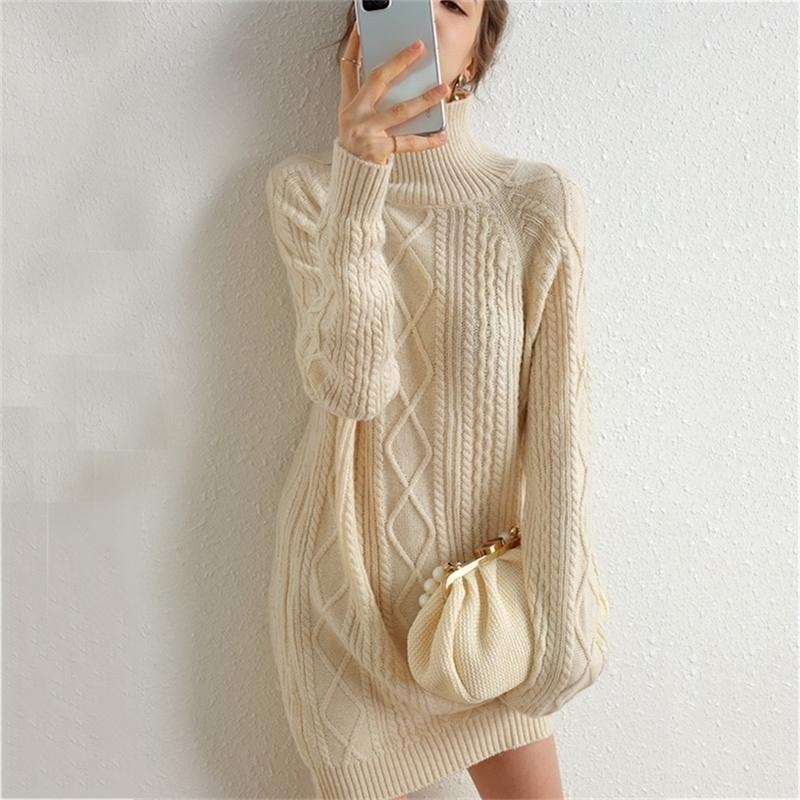 Длинные свитер платье женщины водолазка осень толстый пуловер трикотажный зимний джемпер кашемировой мериносальный свитер 201006