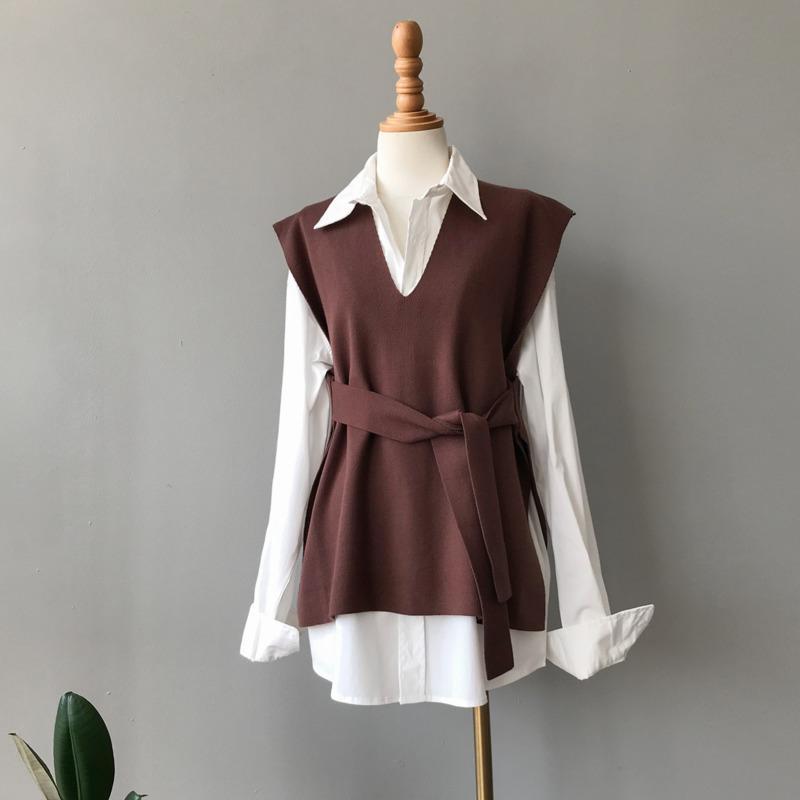 Sonbahar kadın Örme Yelek Kuşaklı V Yaka Kazak Kolsuz Kazak Yelek Giyim 2020 Zarif Ofis Bayanlar Yelekler Üst