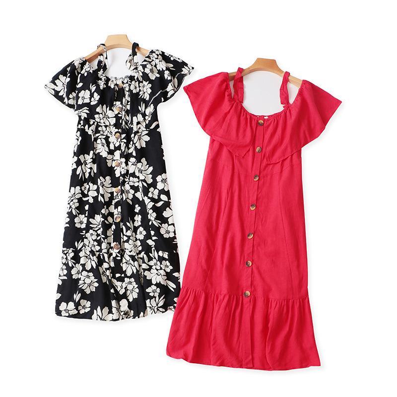 Large Strap Dress Summer New Women's Ruffle Collar Pocket Button Print Sweet Skirt