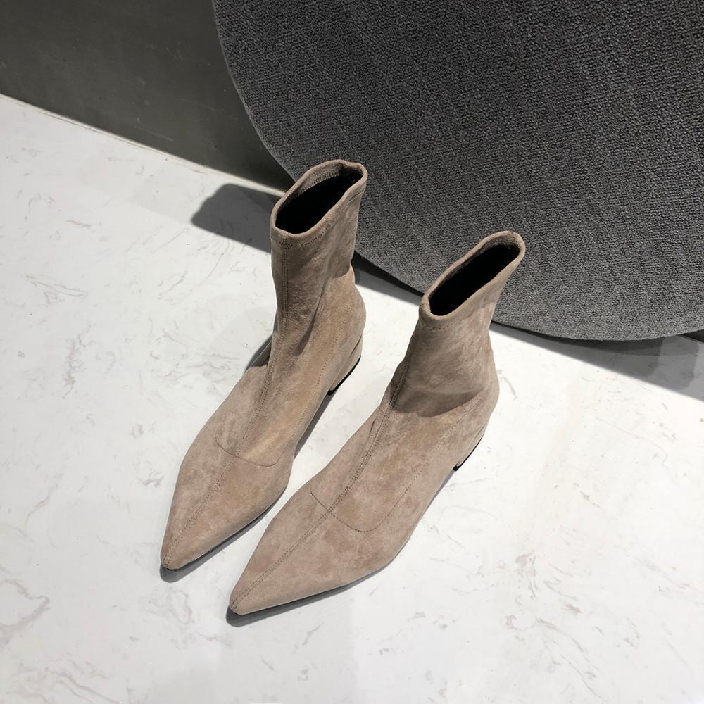 Moda Primavera Nova Mulher Apontadas Toe Meias Fio Lastic Tornozelo Botas Criana Camura Sapatos De Salto Grosso Feminino Bota