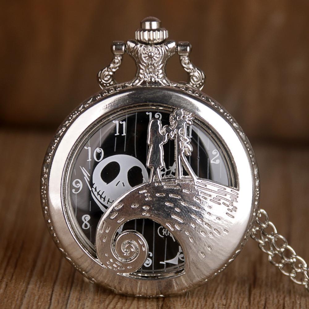 Silber / Schwarz / Bronze Weihnachten Taschenuhr Jack SKELLENTON Tim Burton Movie Kid Anhänger Halskette Uhr