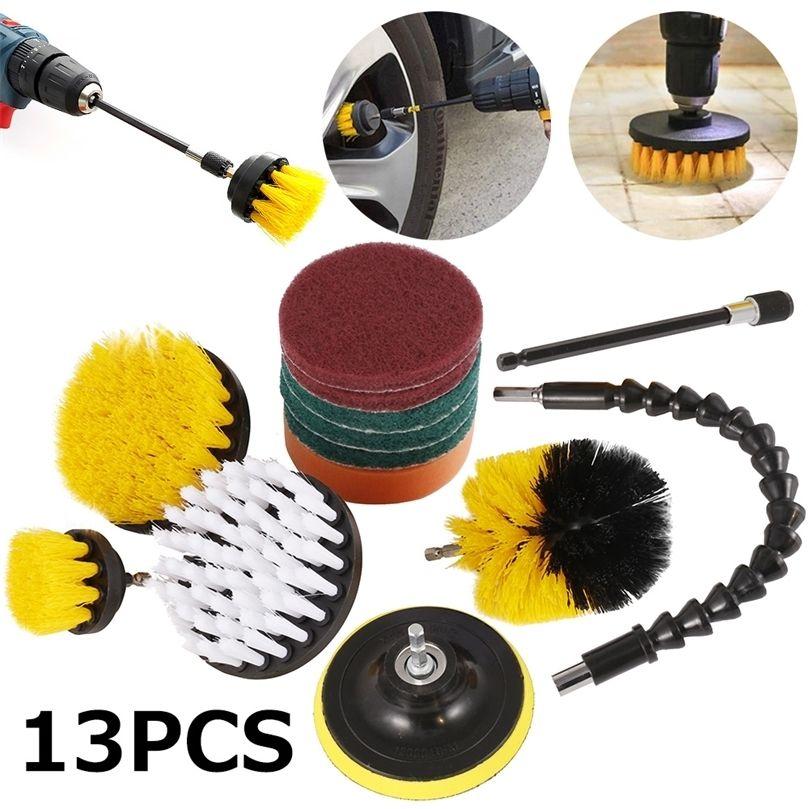 13 pcs / definir escova de broca elétrica esfrega almofadas kit de limpeza de purificador de limpeza de potência escova de limpeza bloco de limpeza para carpete vidro carro limpo 201214