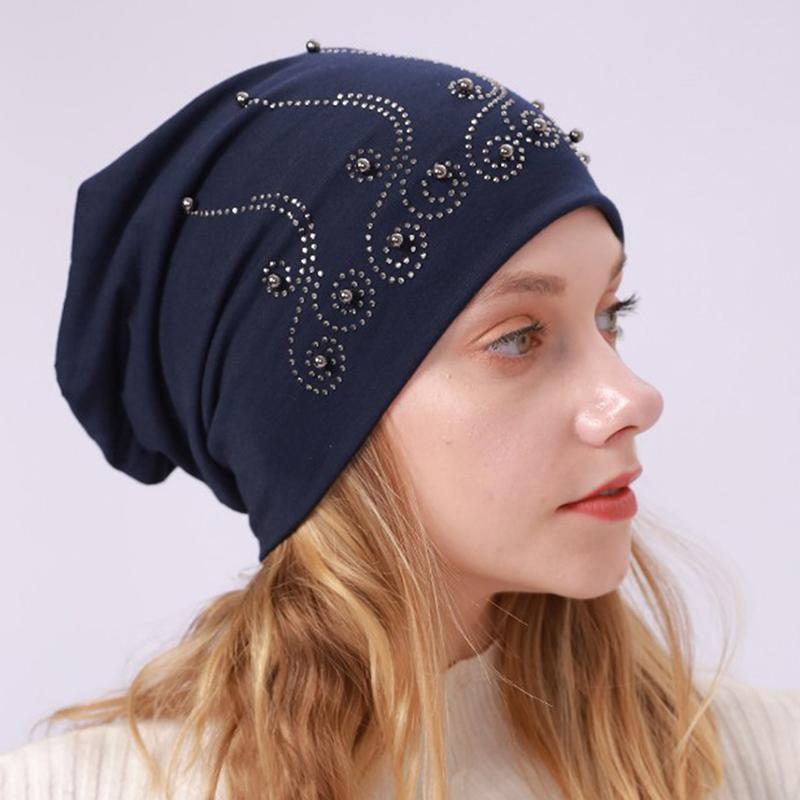Damen glänzend Strass Mütze Herbst Winter weibliche beiläufige Hut Frauen Weiche Mütze Motorhaube