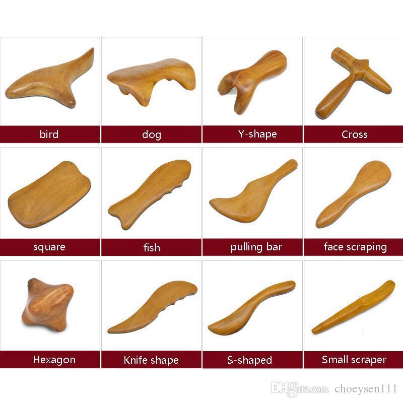 Sandalo naturale Scraping Massaggio Spa Terapia Stick Point Trattamento Muscle Relaxation Guasha Board