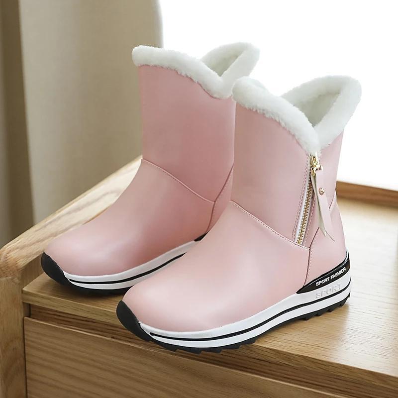 Mulheres neve botas plataforma inverno botas grossas pelúcia impermeável antiderrapante moda mulheres mulheres sapatos de inverno quente botas mujer