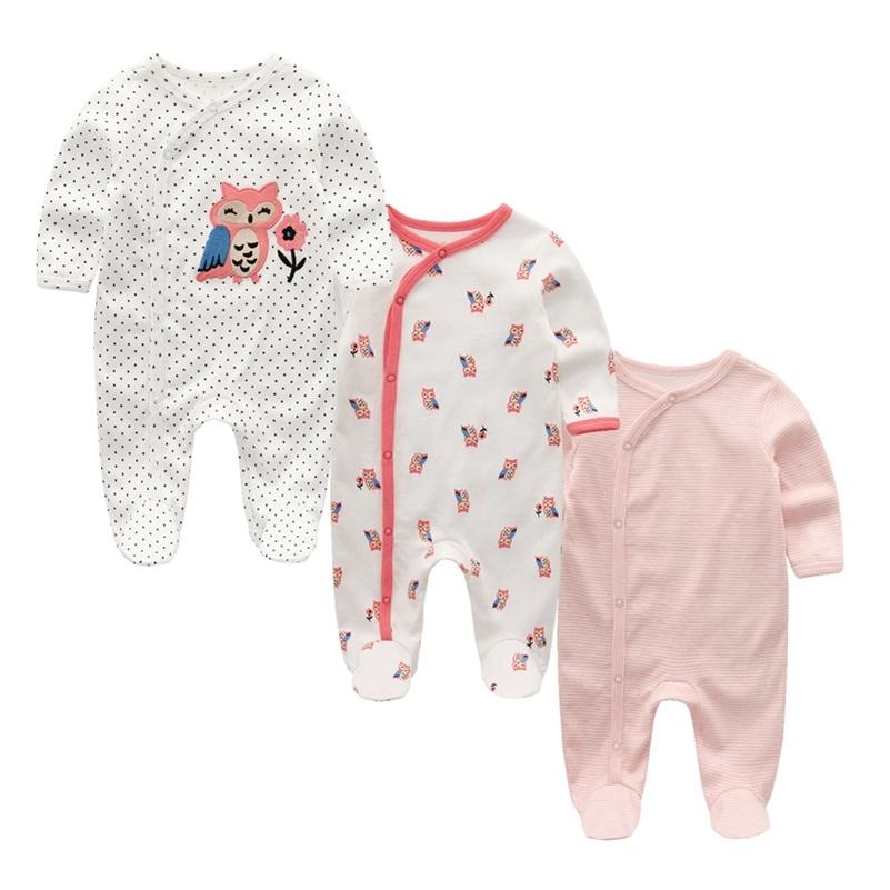 3 teile / los Baby Footed Strampler Neugeborene Kleidung Langarm Komfortable Pyjamas Baby Jungen Mädchen Kleidung Baumwolle Baby Jumpsuit 201216