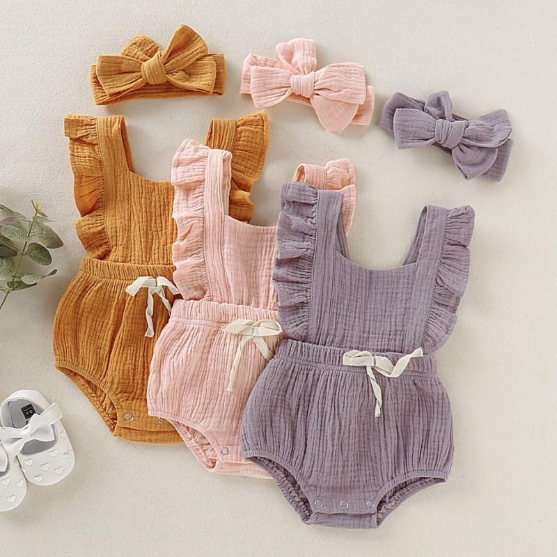 Летние Новорожденные Девушки Комплект Комплект Flare Рукав Сплошной Печатный Комбинезон Bowknot Дизайн с повязкой 201127
