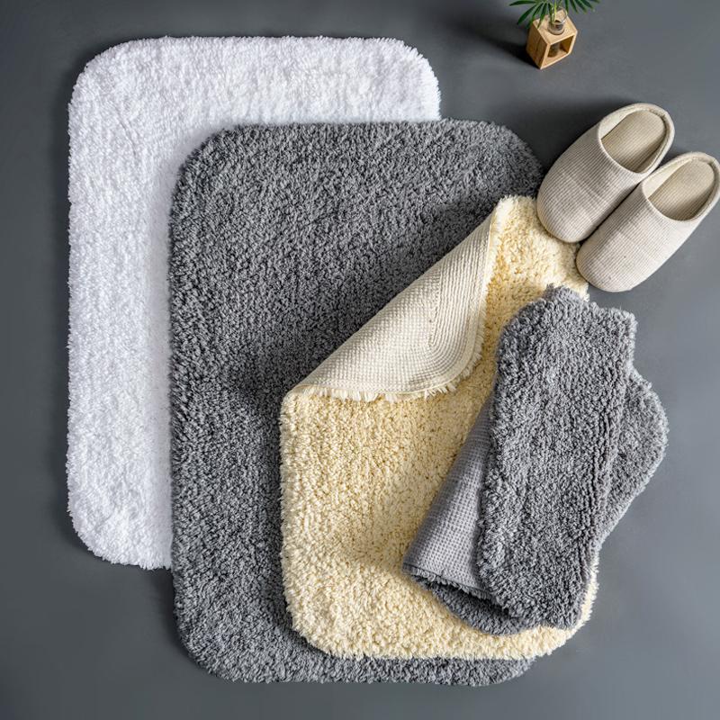 Terry Cotton Bath Matte Hotel Home Duschraum Füße Handtuch Dicke Anti Slip Badezimmer Teppiche Grauer Eingang Fußmatte Bodenmatten