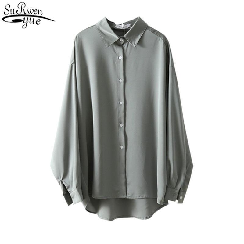 2020 Mode Lose Massivfarbe Top Weibliche 2020 Herbst Neue Allgleiche Langarm Polo Kragen Frau Shirts Chiffon Bluse 11578 F1211