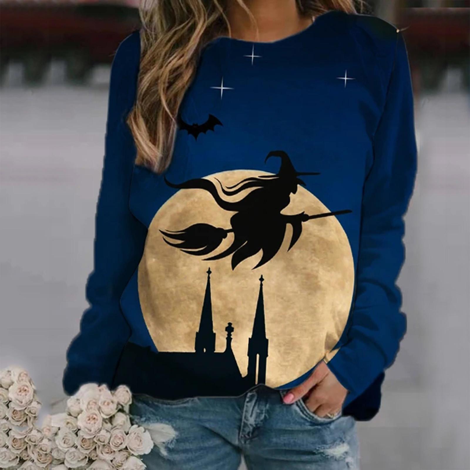Witch Printing Tops & Tees Women's Casual Print Sweatshirts Thermal Crewne Long Sleeve T-shirts Loose Com Kadn T-shirt